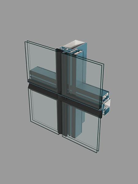 M65系列明框(半隐框)玻璃幕墙型材简图